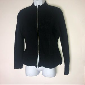 IE Small Black Wool Sweater Zip Up w/black roses
